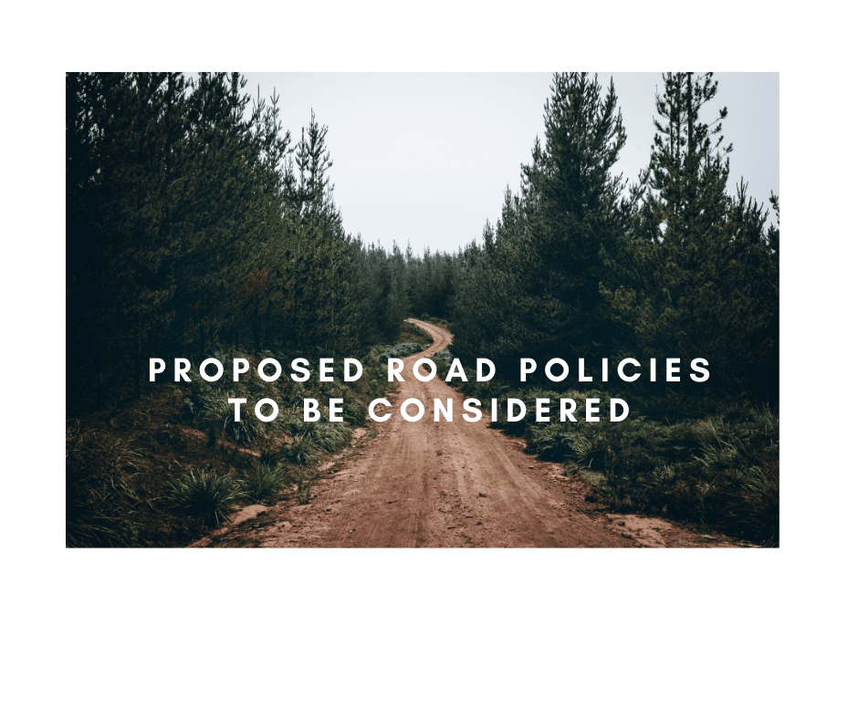Proposed road policies to be considered